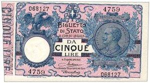 obverse: Regno - 5 Lire Decreto 19/09/1923
