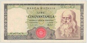 obverse: Leonardo 50.000 Decreto 16/05/1972