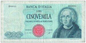 obverse: REPUBBLICA ITALIANA - 5000 Lire