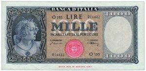 obverse: 1000 Lire Medusa Decreto 09/02/1948
