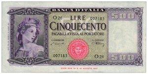 obverse: 500 Lire Spighe Decreto 20/03/1947