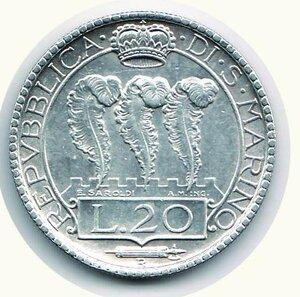 reverse: SAN MARINO - 20 Lire 1932 - Pagani 343.