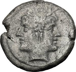 obverse: Anonymous.  AR  debased Quadrigatus, 222-215 BC