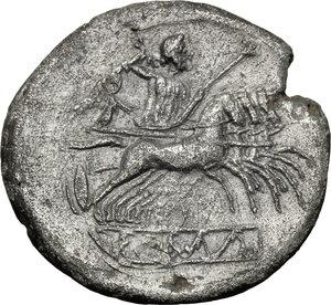 reverse: Anonymous.  AR  debased Quadrigatus, 222-215 BC