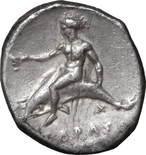 reverse: Southern Apulia, Tarentum. AR Nomos, 380-340 BC