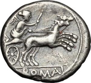 reverse: Anonymous issue.. AR Denarius, 157-156 BC