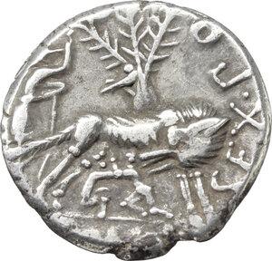 reverse: Sex. Pompeius Fostlus. . AR Denarius, 137 BC