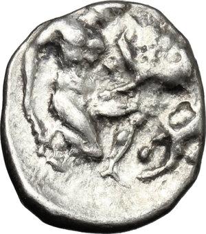 reverse: Southern Apulia, Tarentum. AR Diobol, 380-325 BC