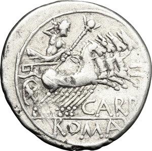 reverse: Cn. Papirius Carbo.. AR Denarius, 121 BC