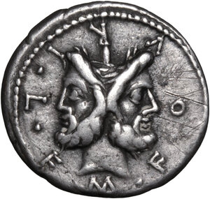 obverse: M. Furius L. f. Philus.. AR Denarius, 119 BC