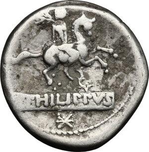 reverse: Q. Marcius Philippus.. AR Denarius, 113-112 BC