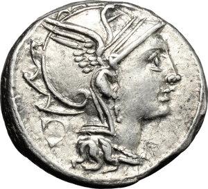 obverse: Appius Claudius Pulcher, T. Manlius Mancinus and Q. Urbinius.. AR Denarius, 111-110 BC