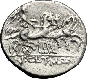 reverse: Appius Claudius Pulcher, T. Manlius Mancinus and Q. Urbinius.. AR Denarius, 111-110 BC