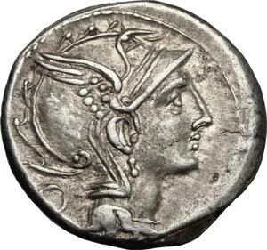 obverse: Appius Claudius Pulcher, T. Manlius Mancinus and Q. Urbinius . AR Denarius, 111-110 BC