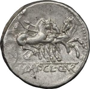 reverse: Appius Claudius Pulcher, T. Manlius Mancinus and Q. Urbinius . AR Denarius, 111-110 BC