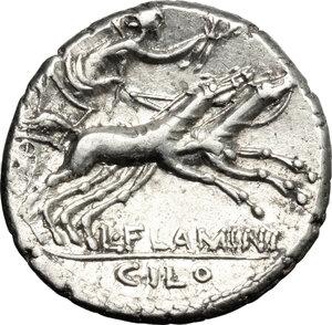 reverse: L. Flaminius Chilo.. AR Denarius, 109-108 BC