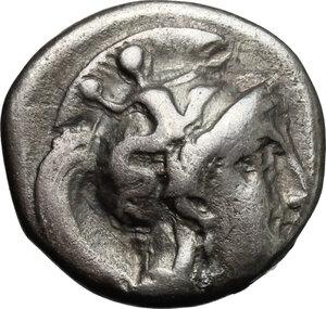 obverse: Southern Apulia, Tarentum. AR Drachm, 302-280 BC