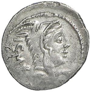 obverse: L. Thorius Balbus. AR Denarius, 105 BC