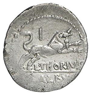 reverse: L. Thorius Balbus. AR Denarius, 105 BC
