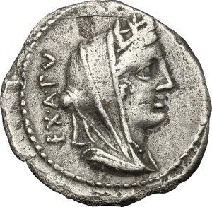obverse: C. Fabius C. f. Hadrianus.. AR Denarius, 102 BC