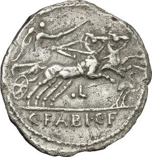 reverse: C. Fabius C. f. Hadrianus.. AR Denarius, 102 BC
