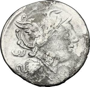 obverse: M. Servilius C.f. . Fourrée Denarius, 100 BC
