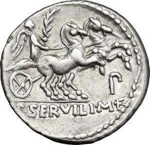 reverse: P. Servilius Rullus.. AR Denarius, 100 BC