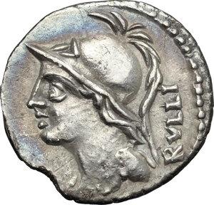 obverse: P. Servilius M. f. Rullus. . AR Denarius, 100 BC