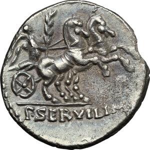 reverse: P. Servilius M. f. Rullus. . AR Denarius, 100 BC