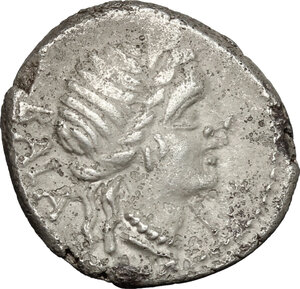 obverse: C. Allius Bala . AR Denarius, ca 92 B.C