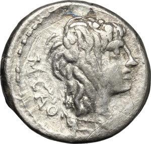 obverse: M. Porcius Cato.. AR Quinarius, 89 BC