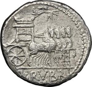 reverse: L. Rubrius Dossenus.. AR Denarius, 87 BC