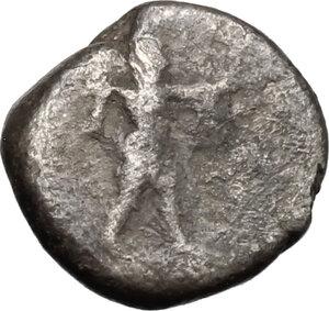 obverse: Lucania, Poseidonia-Paestum. AR Obol, 410-350 BC