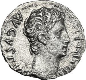 obverse: Augustus (27 BC - 14 AD).. AR Denarius, 15 BC. Lugdunum mint