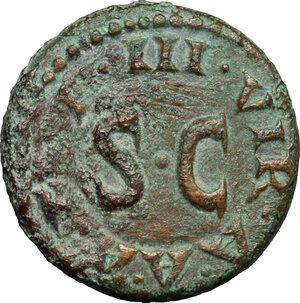 reverse: Augustus (27 BC - 14 AD).. AE Quadrans, 9 BC