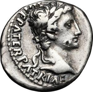 obverse: Augustus (27 BC - 14 AD).. AR Denarius, Lugdunum mint, 2 BC - 4 AD