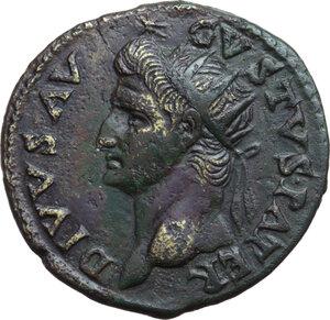 obverse: Augustus (27 BC - 14 AD).. AE Dupondius, struck under Titus, 81 AD