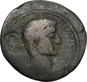 obverse: Tiberius (14-37).. AE 32mm Leptis Magna mint, Syrtica