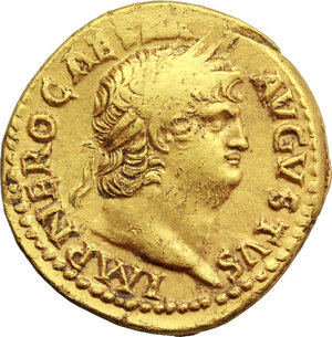 obverse: Nero (54-68).. AV Aureus, 66-67 AD