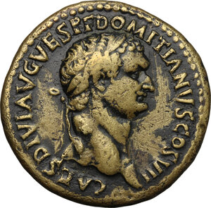 obverse: Domitian as Caesar (69-81).. AE Sestertius, struck under Titus, 80-81 AD. Rome mint