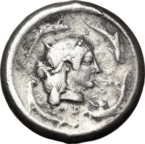 reverse: Syracuse.  Deinomenid Tyranny (485-466 BC).. AR Tetradrachm, 475-470 BC
