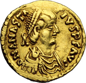 obverse: Ostrogothic Italy, Theoderic (493-526).. AV Tremissis in the name of Anastasius I, Rome mint, 493-518