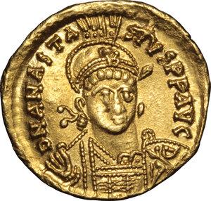 obverse: Anastasius I (491-518).. AV Solidus, Constantinople mint, 492-507