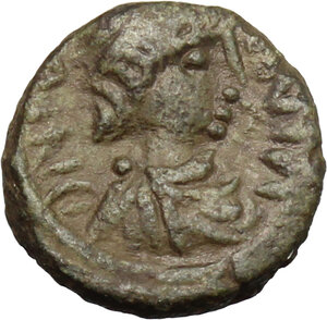 obverse: Justinian I (527-565).. AE Pentanummium, uncertain mint. Struck 540-565