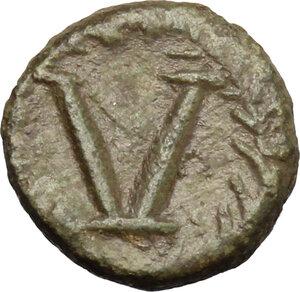reverse: Justinian I (527-565).. AE Pentanummium, uncertain mint. Struck 540-565