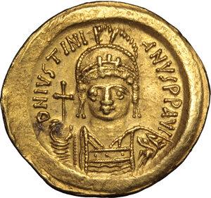 obverse: Justinian I (527-565).. AV Solidus, Rome mint, 542-552