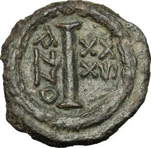 reverse: Justinian I (527-565).. AE Decanumium. Ravenna mint.  Dated RY 36 (562/3 AD)