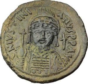 obverse: Justinian I (527-565).. AE Follis, Nicomedia mint