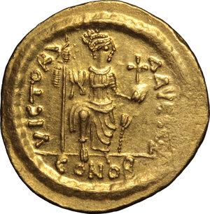 reverse: Justin II (565-578).. AV Solidus, Ravenna mint, 567-578