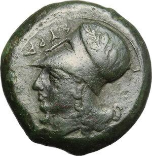 obverse: Syracuse.  Timoleon and the Third Democracy (344-317 BC).. AE Trias, 344-317 BC